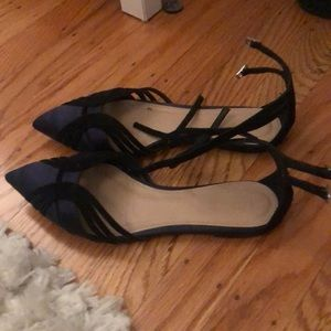 Jcrew satin and suede strappy flats